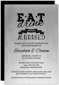 Be Married Silver 25th Anniversary Invitation
