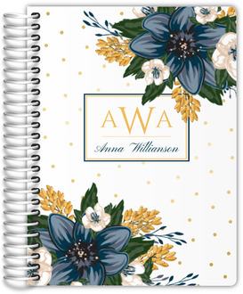 Beautiful Modern Blue Floral Planner