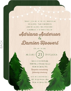 Rustic Woodgrain Evergreen Tree Wedding Invitation