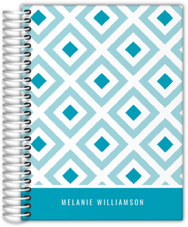 Teal Diamond Pattern Monthly Planner