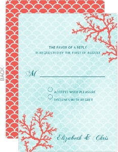 Coral Watercolor Wedding Response Card