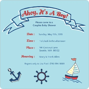 Sailing Boy Baby Shower Invite Magnet