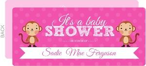 Bright Girly Polka Dot Monkey Baby Shower Invitation