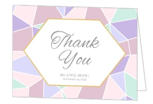 Geometric Pastel Wedding Thank You Card