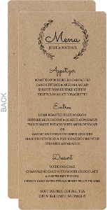 Rustic Chalk Wreath Wedding Menu Card