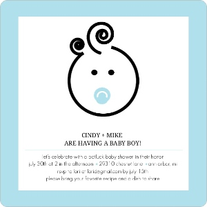 Cute Baby Face Boy Baby Shower Invite Magnet