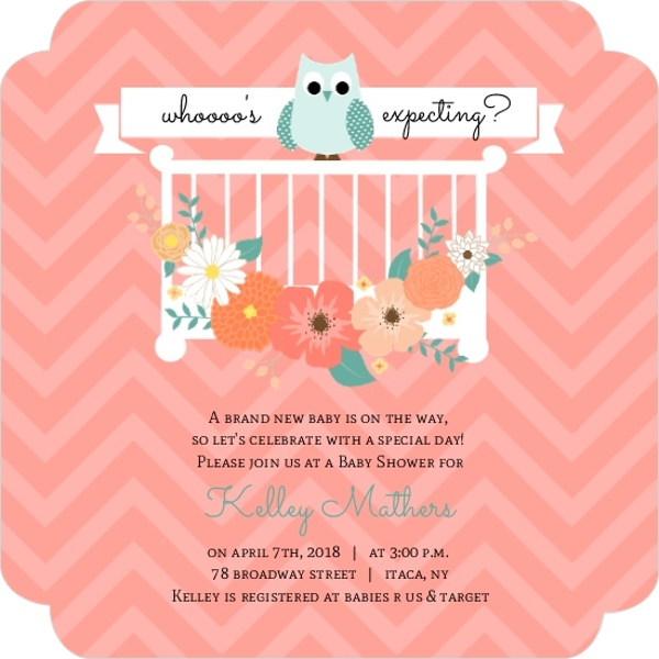 peach flowers owl baby shower invitation custom magnet baby shower
