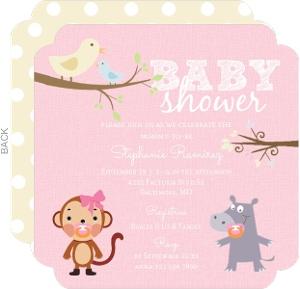 Hippo and Monkey Girl Baby Shower Invitation
