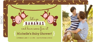 Line Hanging Monkeys Baby Shower Invitation