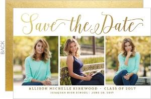 Triple Photo Horizontal Graduation Save The Date