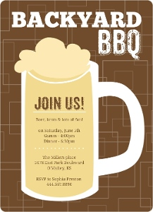 Brown Beers Cheers Backyard Bbq Invitation Magnet