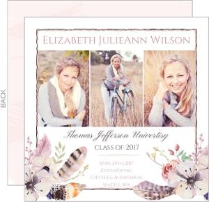 Rustic Floral Feather Graduation Announcement