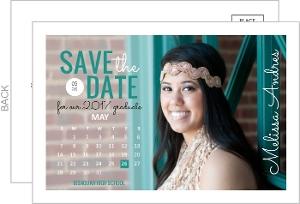 Teal Calendar Postcard Graduation Save the Date Announcement