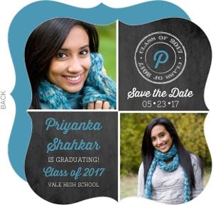Chalkboard Grid Graduation Save the Date Card