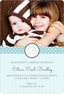 Blue Stripes And Dots Sibling Baby Announcement Magnet