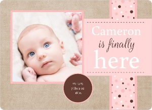 Brown Linen With Pink Sibling Baby Announcement Magnet