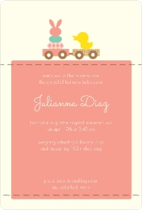 Pink Bunny And Duck Sibling Baby Announcement Magnet