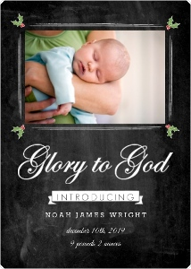 Photo Chalkboard Glory God Christmas Birth Announcement