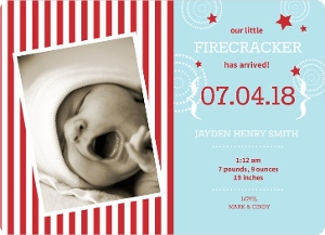 Fourth July Fireworks Birth Announcement