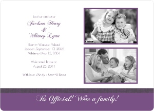 Purple Brother And Sister Photo Adoption Party Invitation Magnet