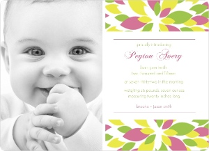 Bright Blossoms Photo Girl Baby Announcement Magnet