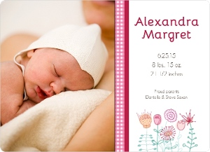 Sweet Pink Gingham Photo Girl Baby Announcement Magnet