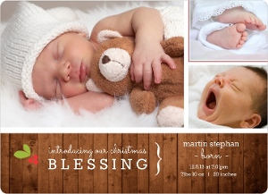Rustic Holiday Photo Birth Announcement Magnet