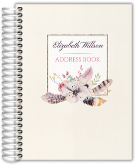 Rustic Floral Feather Address Book