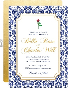 Royal Blue Damask Frame Wedding Invitation