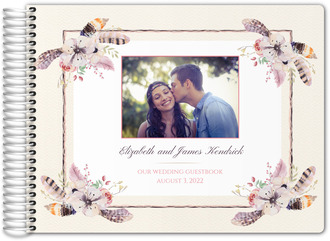 Rustic Floral Feather Wedding Guest Book