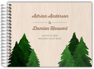 Rustic Woodgrain Evergreen Tree Wedding Guest Book