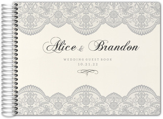 Lace and Gray Wedding Guest Book
