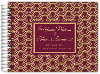 Burgundy and Faux Gold Glitter Wedding Guest Book
