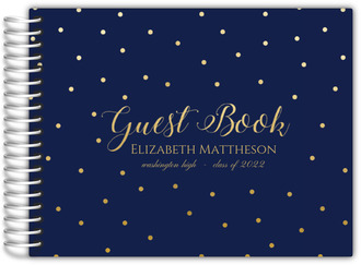 Navy and Gold Dots Graduation Guest Book