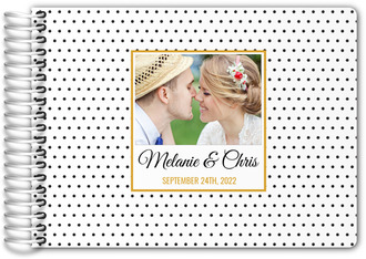 Black and White Polka Dot Photo Wedding Guest Book