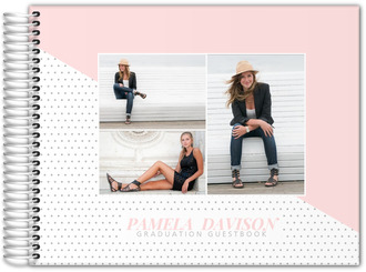 Soft Blush Polka Dot Photo Graduation Guest Book