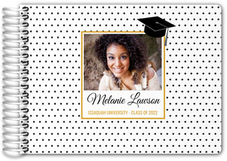 Black and White Polka Dot Photo Graduation Guest Book