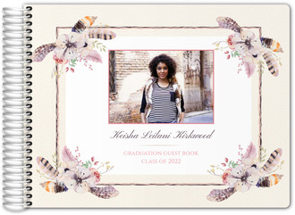 Rustic Floral Feather Graduation Guest Book