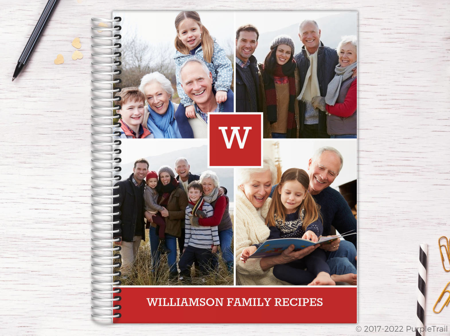 Red Monogram Photo Collage Recipe Journal