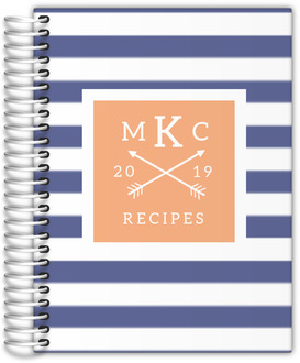 Modern Stripes Monogram Recipe Journal