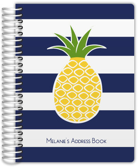 Pineapple Navy Stripe Address Book