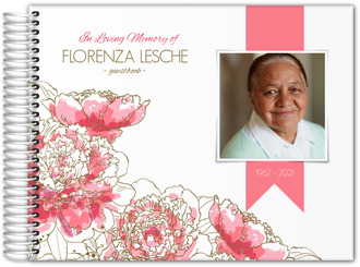 Pink Peony Funeral Guest Book