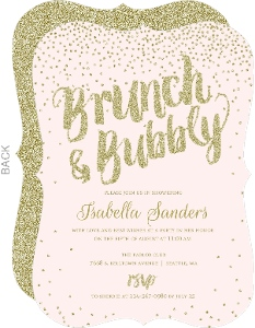 Brunch & Bubbly Gold Glitter Bridal Shower Invitation