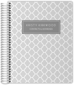 Gray Quatrefoil Pattern Address Book
