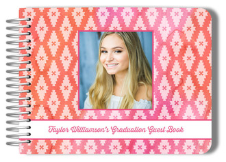 Pink Watercolor Aztec Pattern Graduation Guest Book