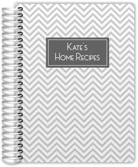 Gray Chevron Pattern Recipe Journal