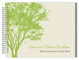 Cream and Green Rustic Tree Anniversary Guest Book