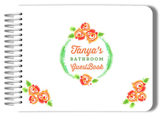 Crayon Floral Pattern Bathroom Guest Book