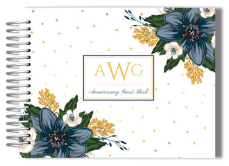 Monogram Blue Floral Anniversary Guest Book