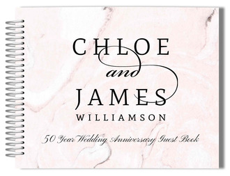 Elegant Blush Marble Anniversary Guest Book